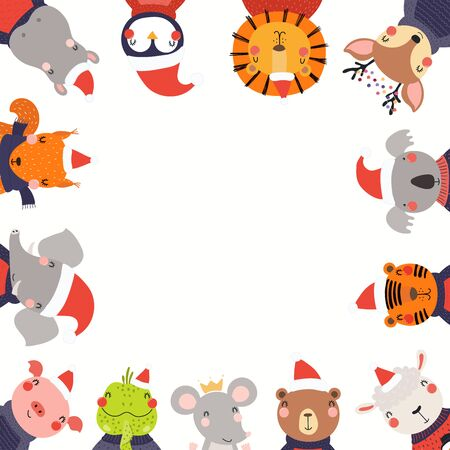 Christmas, New Year frame with cute cartoon animals in Santa Claus hats, place for text. Hand drawn vector illustration. Scandinavian style flat design. Concept for kids print, invite, card, banner.