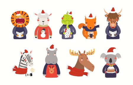 Big Christmas set with cute animals in Santa Claus hats, ugly sweaters. Isolated objects on white background. Hand drawn vector illustration. Scandinavian style flat design. Concept for children print Ilustracja