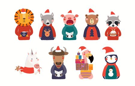 Big Christmas set with cute animals in Santa Claus hats, ugly sweaters. Isolated objects on white background. Hand drawn vector illustration. Scandinavian style flat design. Concept for children print Illustration
