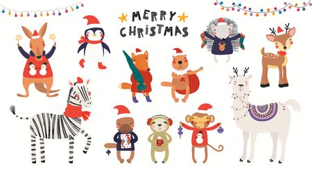 Big Christmas set with cute animals in Santa Claus hats, tree, gifts, ornaments, text. Isolated on white. Hand drawn vector illustration. Scandinavian style flat design. Concept for children print. Illustration