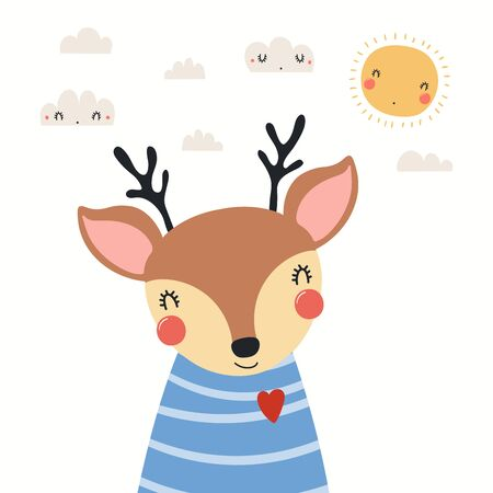 Hand drawn portrait of a cute deer in striped shirt, with sun and clouds. Vector illustration. Isolated objects on white background. Scandinavian style flat design. Concept for children print.