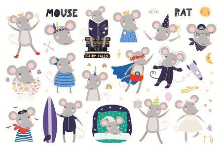 Cute mouse astronaut, pirate, superhero, princess, ballerina, unicorn, sleeping, reading. Big set, isolated on white. Hand drawn vector illustration. Scandinavian style flat design Concept kids print