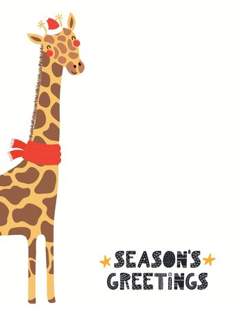 Hand drawn Christmas card with cute giraffe in Santa Claus hat, quote Seasons greetings. Vector illustration on white background. Scandinavian style flat design. Concept for children print, invite.