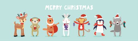 Hand drawn card with cute animals in Santa Claus hats, tree, gifts, ornaments, text Merry Christmas. Vector illustration. Isolated objects. Scandinavian style flat design. Concept kids print, invite.