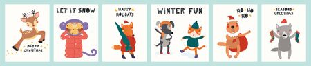 Collection of greeting cards with cute animals doing winter, Christmas activities, tree, gifts, text. Hand drawn vector illustration. Scandinavian style flat design. Concept for children print.  イラスト・ベクター素材