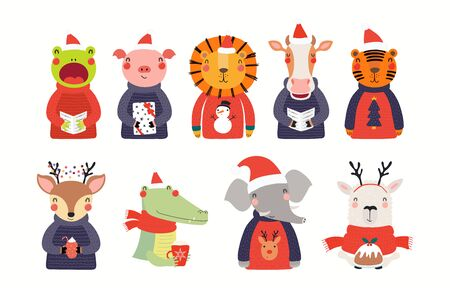 Big Christmas set with cute animals in Santa Claus hats, ugly sweaters. Isolated objects on white background. Hand drawn vector illustration. Scandinavian style flat design. Concept for children print Foto de archivo - 133613423