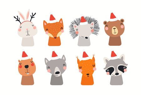 Christmas set with cute animals in Santa Claus hats. Isolated objects on white background. Hand drawn vector illustration. Scandinavian style flat design. Concept, element for kids print, invite, card