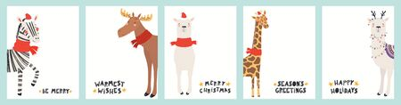 Collection of Christmas cards with cute zebra, giraffe, llama, moose in Santa hats, reindeer antlers, with text. Hand drawn vector illustration. Scandinavian style flat design. Concept for kids print.