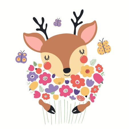 Hand drawn vector illustration of a cute deer holding a bouquet of flowers, with butterflies. Isolated objects on white background. Scandinavian style flat design. Concept for children print.