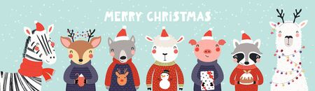 Hand drawn card, banner with cute animals in Santa Claus hats, sweaters, lights, pudding, gifts, text Merry Christmas. Vector illustration. Scandinavian style flat design. Concept kids print, invite. Stock Vector - 132065629