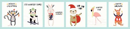 Collection of greeting cards with cute animals doing winter, Christmas activities, sparklers, gifts, text. Hand drawn vector illustration. Scandinavian style flat design. Concept for children print.