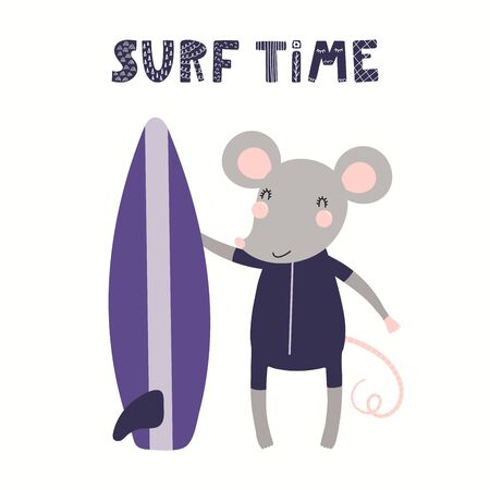 Hand drawn vector illustration of a cute mouse in summer, with surfboard, lettering quote Surf time. Isolated objects on white background. Scandinavian style flat design. Concept for children print. Ilustrace