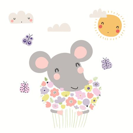 Hand drawn vector illustration of a cute mouse holding bouquet of flowers, with sun, clouds, butterflies. Isolated objects on white background. Scandinavian style flat design. Concept children print.