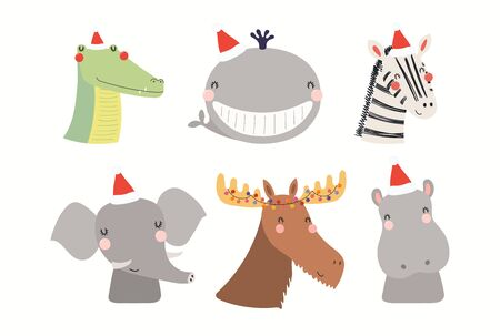 Christmas set with cute animals in Santa Claus hats. Isolated objects on white background. Hand drawn vector illustration. Scandinavian style flat design. Concept, element for kids print, invite, card Foto de archivo - 133613453