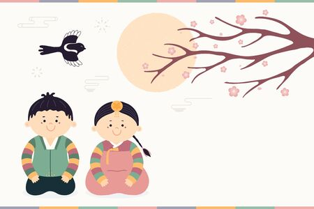 Hand drawn vector illustration for Korean New Year Seollal with cute children, boy and girl, in hanboks, magpie, plun blossoms, sun. Flat style design. Concept for holiday card, poster, banner. Ilustracja