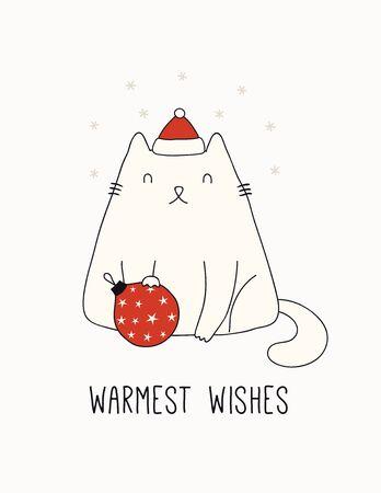 Biglietto disegnato a mano, striscione con simpatico gatto con cappello di Babbo Natale, fiocchi di neve, testo Auguri più calorosi. Illustrazione vettoriale. Linea di disegno. Oggetti isolati su bianco. Concetto di design per la stampa di Natale, invito.