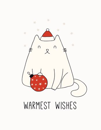 Hand drawn card, banner with cute cat in Santa Claus hat, snowflakes, text Warmest wishes. Vector illustration. Line drawing. Isolated objects on white. Design concept for Christmas print, invite.