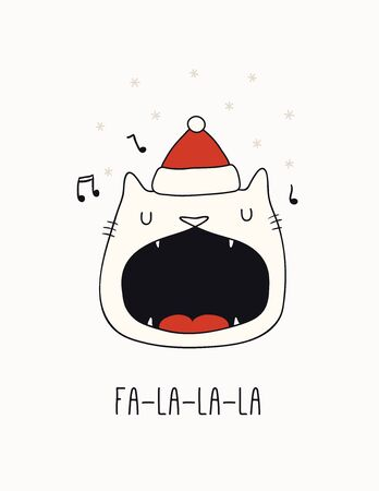 Hand drawn card, banner with cute singing cat in Santa Claus hat, snowflakes, text Fa-la-la-la. Vector illustration. Line drawing. Isolated objects on white. Design concept for Christmas print, invite Çizim
