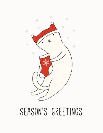 Hand drawn card, banner with cute cat in Santa Claus hat, stocking, snowflakes, text Seasons greetings. Vector illustration. Line drawing. Isolated objects. Design concept for Christmas print, invite.