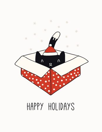 Hand drawn card, banner with cute cat in Santa Claus hat, in a box, text Happy holidays. Vector illustration. Line drawing. Isolated objects on white. Design concept for Christmas print, invite. Çizim