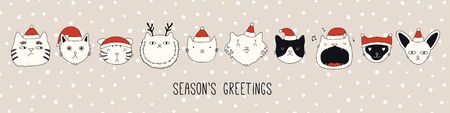 Hand drawn card, banner with different cute cats faces in Santa Claus hats, text Seasons greetings. Vector illustration. Line drawing. Isolated objects. Design concept for Christmas print, invite. Ilustracja