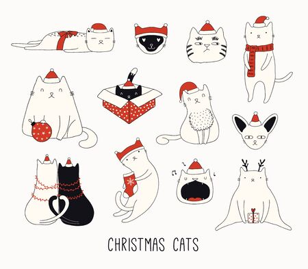 Collection of cute funny doodles of different cats in Santa Claus hats. Isolated objects on white background. Hand drawn vector illustration. Line drawing. Design concept for Christmas card invite. Ilustracja