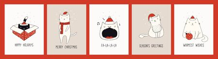Collection of hand drawn Christmas cards with cute cats in Santa Claus hats, quotes. Vector illustration. Line drawing. Design concept for holiday print, invite, banner, gift tag. Illustration