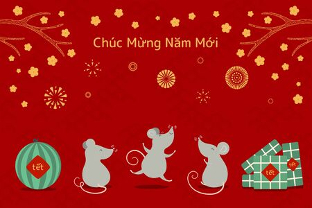 Hand drawn vector illustration for Tet with cute rats, rice cakes, watermelon, apricot flowers, fireworks, Vietnamese text Happy New Year. Flat style design. Concept for holiday card, poster, banner.