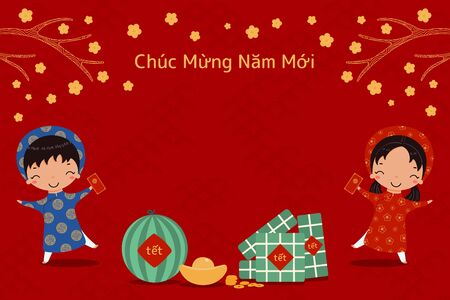 Hand drawn vector illustration for Tet with cute kids in ao dai, rice cakes, gold, watermelon, apricot flowers, Vietnamese text Happy New Year. Flat style design. Concept holiday card, poster, banner.