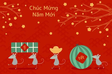 Hand drawn vector illustration for Tet with cute rats carrying rice cake, watermelon, gold, apricot flowers, Vietnamese text Happy New Year. Flat style design. Concept for holiday card, poster, banner Illustration
