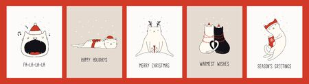 Collection of hand drawn Christmas cards with cute cats in Santa Claus hats, quotes. Vector illustration. Line drawing. Design concept for holiday print, invite, banner, gift tag. Ilustração