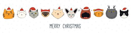 Hand drawn card, banner with different cute cats faces in Santa Claus hats, text Merry Christmas. Vector illustration. Line drawing. Isolated objects. Design concept for holiday print, invite. Ilustração