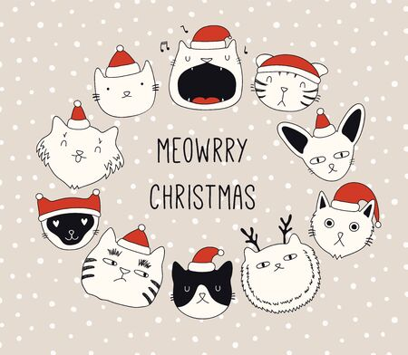 Hand drawn card, banner with different cute cats faces in Santa Claus hats, text Meowrry Christmas. Vector illustration. Line drawing. Isolated objects. Design concept for holiday print, invite.
