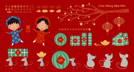 Set of Tet design elements, kids in ao dai, rats, tree branch, gold, rice cakes, watermelon, fireworks, flowers, Vietnamese text Happy New Year. Hand drawn vector illustration. Flat style. Isolated. Ilustração