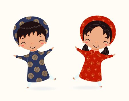 Hand drawn vector illustration of a cute children, boy and girl, in ao dai, traditional Vietnamese clothes. Isolated on white. Flat style design. Concept for poster, banner, travel, tourism in Vietnam