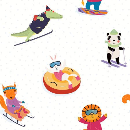 Hand drawn seamless vector pattern with cute animals doing winter sports, playing in the snow, on a white background. Scandinavian style flat design. Concept for children textile print, wallpaper.