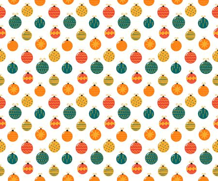 Hand drawn seamless vector pattern with bright Christmas ornaments, on a white background. Scandinavian style flat design. Concept for children textile print, wallpaper, wrapping paper, packaging. Archivio Fotografico - 134469012