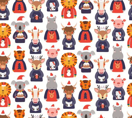 Hand drawn seamless vector pattern with cute animals in sweaters doing Christmas activities, on white background. Scandinavian style flat design. Concept for kids print, wallpaper, wrapping paper.