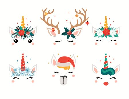 Christmas set with cute unicorn, llama, reindeer faces, in flower wreaths. Isolated objects on white. Hand drawn vector illustration. Flat style design. Concept holiday print, card, invite, gift tag.