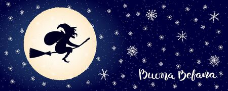 Hand drawn vector illustration with witch Befana flying on broomstick, moon, snowflakes, Italian text Buona Befana, Happy Epiphany. Flat style design. Concept for holiday card, poster, banner.