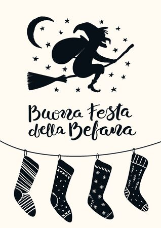 Hand drawn vector illustration with witch Befana flying on broomstick, stockings, Italian text Buona Festa della Befana, Happy Epiphany. Flat style design. Concept for holiday card, poster, banner.