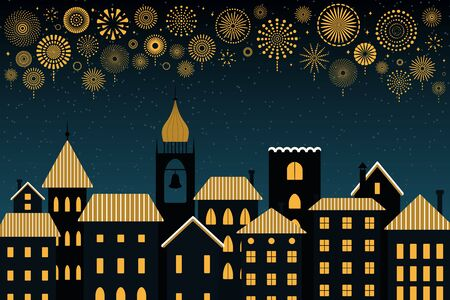 Vector illustration with golden fireworks in the night sky over the black city, place for text. Flat style design. Concept for New Year celebration, holiday background, card, poster, banner.