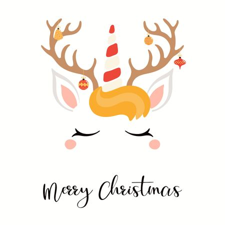 Hand drawn card of cute unicorn face with reindeer antlers, hanging ornaments, text Merry Christmas. Vector illustration Isolated objects on white. Flat style design. Concept for holiday print, invite