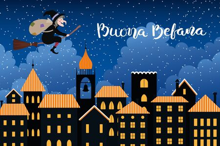 Hand drawn vector illustration with witch Befana with sack flying on broomstick over city, clouds, Italian text Buona Befana, Happy Epiphany. Flat style design. Concept holiday card, poster, banner. Vettoriali