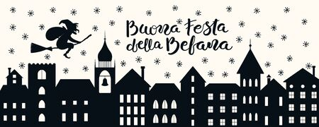 Hand drawn vector illustration with witch Befana flying on broomstick over city, Italian text Buona Festa della Befana, Happy Epiphany. Flat style design. Concept for holiday card, poster, banner. Illustration