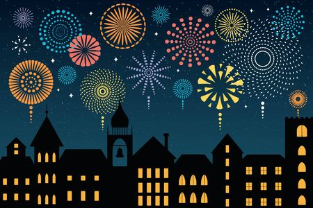 Vector illustration with colorful fireworks in the night sky over the black city, place for text. Flat style design. Concept for New Year celebration, holiday background, card, poster, banner. Illustration