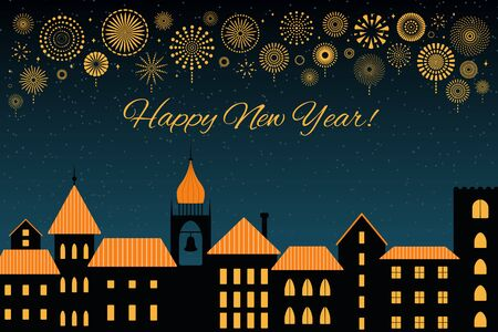 Vector illustration with golden fireworks in the night sky over the black city, text Happy New Year. Flat style design. Concept for holiday celebration, background, card, poster, banner.