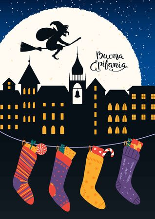 Hand drawn vector illustration with witch Befana flying on broomstick over city, stockings, Italian text Buona Epifania, Happy Epiphany. Flat style design. Concept for holiday card, poster, banner.