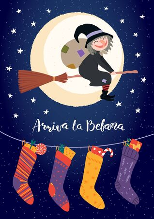 Hand drawn vector illustration with witch Befana flying on broomstick, stockings, Italian text Arriva la Befana, Befana arrives. Flat style design. Concept for Epiphany holiday card, poster, banner.