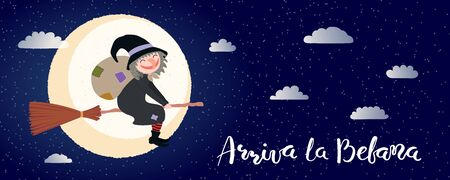 Hand drawn vector illustration with witch Befana flying on broomstick, moon, clouds, Italian text Arriva la Befana, Befana arrives. Flat style design. Concept for Epiphany holiday card, poster, banner